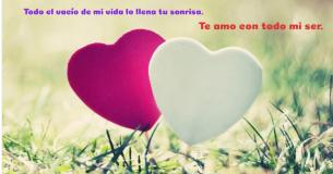 Imagen de dos corazones sobre un bonito fondo que contiene los mensajes cortos de amor para enviar a tu pareja.