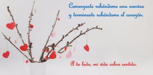 Frases bonitas para postales de amor con corazón.