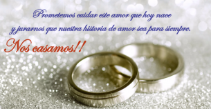 Postales para bodas con anillos de compromiso.