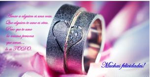 Dedicatorias de boda en postales con alianzas.