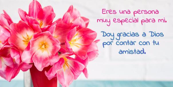 Palabras De Agradecimiento En Una Bonita Postal Con Flores