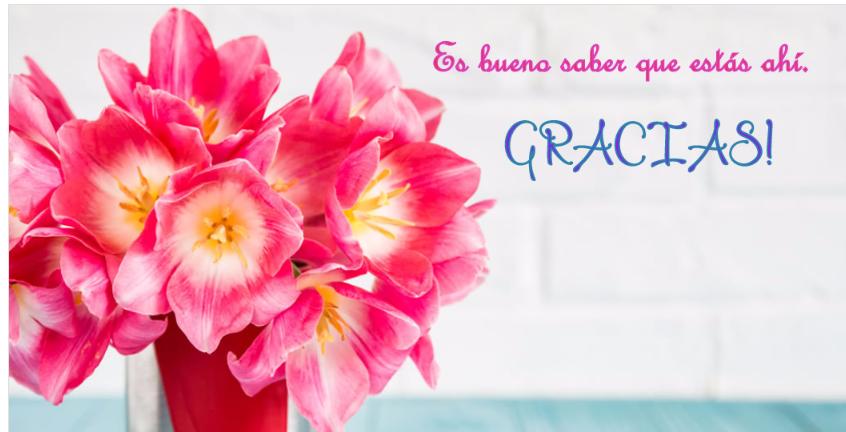 Postal con flores para tus palabras de agradecimiento.