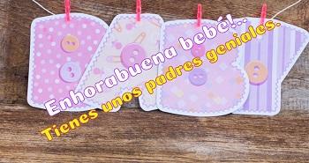 Postales personalizables con frases para recién nacidos.