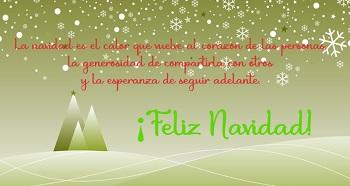 Imagen nevada color verde para enviar en navidad.